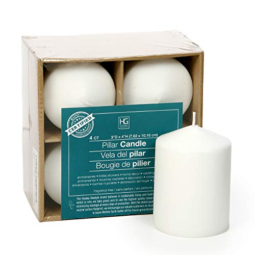 Hosley 3x4 High White Unscented Pillar Candles - Set of 4. Bulk Buy. Wax Blend. Ideal for Wedding, Emergency Lanterns, Spa, Aromatherapy, Party, Reiki, Candle Gardens O3