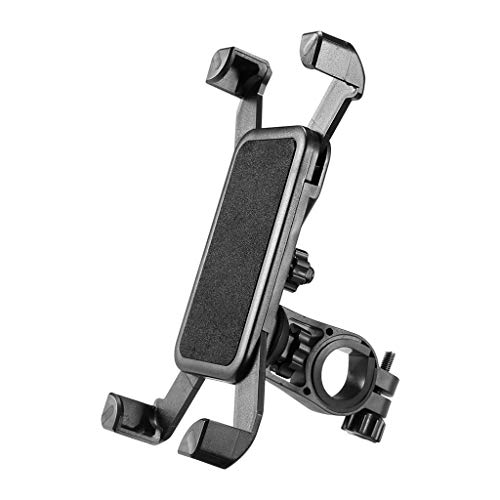 Barcley Bike Phone Mount,Bicycle Cell Phone Holder,Universal Motorcycle Handlebar Rack with 360° Rotation Adjustable Anti Shake Silicone Bands Cycling Compatible with All Smart Phone (Black)