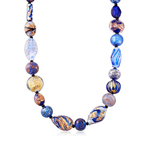 Ross-Simons Italian Multicolored Murano Glass Bead Necklace in 18kt Gold Over Sterling