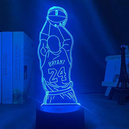 3D LED Night LightKobe Jump Shot Figura Vista posterior Libro Kobe Memorial7 colores cambiantes Avión Luz de Navidad Lámpara de escritorio acrílica para regalo de niños-16 color remote control