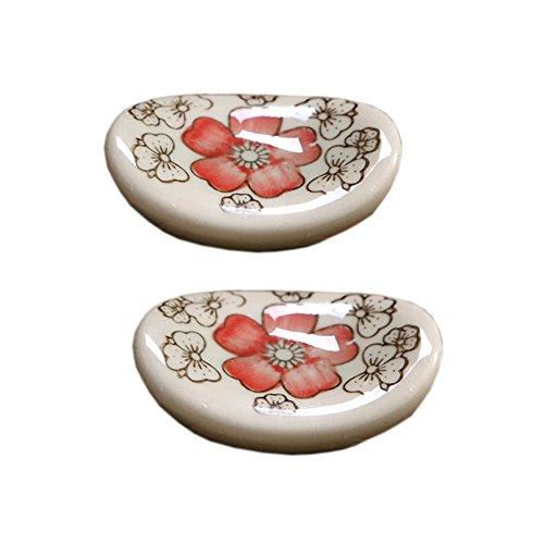 4 St?ck Keramik Hashioki B?nkchen L?ffel-Gabel-Halter, Rote Blume