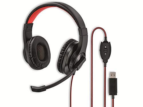 Hama USB Headset, Over Ear Kopfhörer mit Mikrofon (Headset mit Lautstärkenregler und verstellbarem Mikrofonarm, für Videokonferenzen, Homeoffice, Callcenter, eLearning, USB-A-Stecker) schwarz, rot