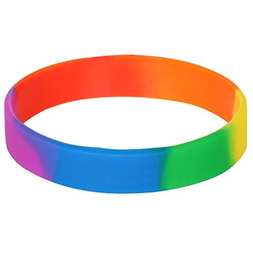 TRIXES Silikon-Regenbogen-Armband - Zubehör für Gay-Pride-LGBT-Festival-Veranstaltungen - Armband für Männer Frauen und alle Anderen - Wasserfestes mehrfarbiges Sport-Armband