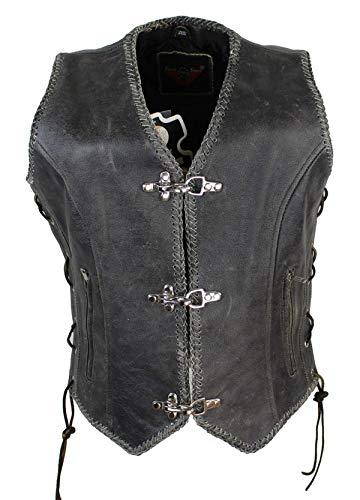 EURO STARS Damen Schnallen Lederweste mit Seiten Schnür Cracker Braun, Leather Vest brown (3XL, Braun)