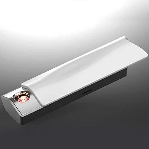 E-Flame Feuerzeug elektronisch Alkohol Test Feuerzeug Winddicht USB Akku mit Alkoholtester Weiß