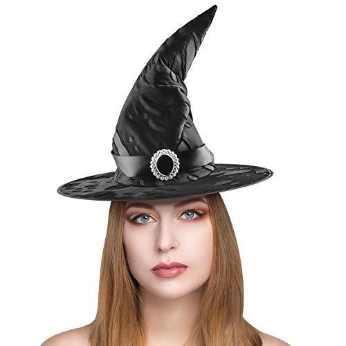teyiwei Sombrero de bruja para mujer, sombrero negro de bruja con diamantes accesorios para disfraz de Halloween