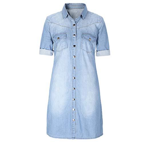 DEATU Women Mini Dress, Women's Denim Buttons Loose Casual 3/4 Sleeve Dress(Light Blue,Size XXL)