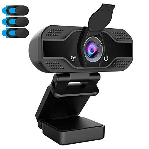 Tasu Webcam 1080p PC Webcam con micrófono Webcam Webcam USB Webcam Streaming Webcam para videollamadas y grabación, Pequeño/Flexible/Ajustable (Con tapa de cámara)