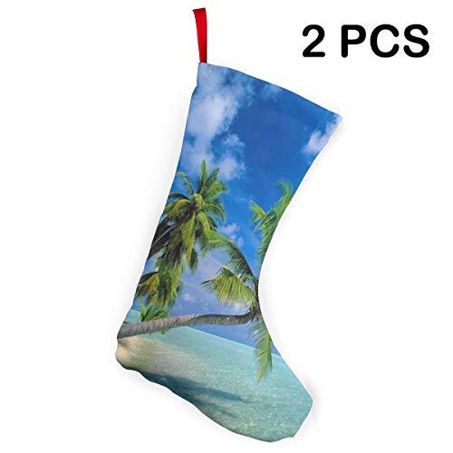 BEASDEN Christmas Socks Maldives Beach Customized Santa Stocking 2pcs Set Gift Kids Fireplace/Restaurant/Hotel/Club/bar for Xmas Tree Decor