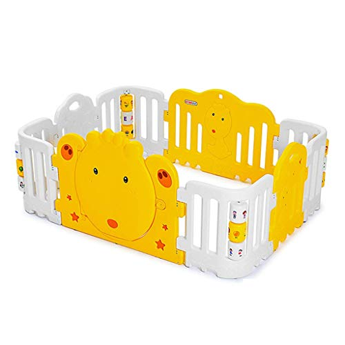 Relaxbx babyhek, kunststof baby park omheining, draagbaar kind peuter kruipdeken veiligheidshek Home Indoor speelhek (kleur: geel + wit)