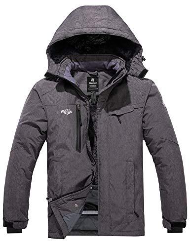 Wantdo Men's Waterproof Rain Jacket Wind Resistant Short Parka Dark Gray XL
