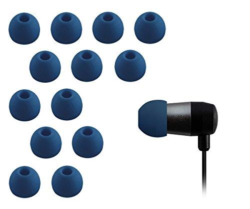 Xcessor Ricambio Auricolari Earbud Earpad in Silicone 7 Paia (Set da 14 Pezzi). Compatibile con la Maggior Auricolare Cuffie Marche. Taglia: MEDIO (M). Blu Scuro