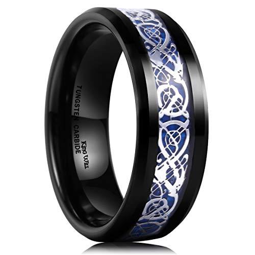 King Will Dragon Mens 8mm Black Tungsten Carbide Ring Blue Carbon Fiber Celtic Dragon Wedding Band 6.5