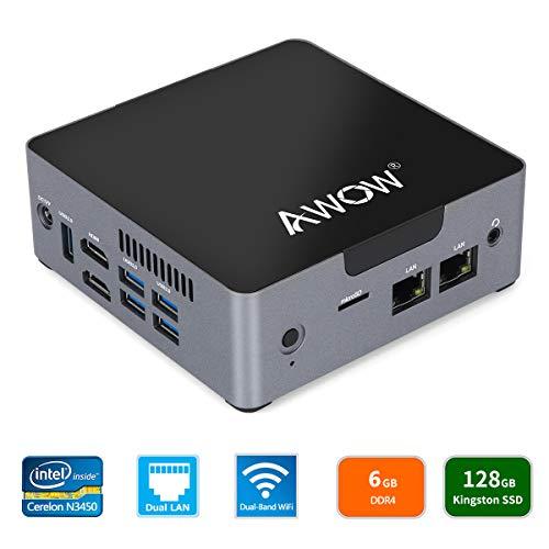 AWOW AK34 Mini PC Windows 10 Mini Desktop Computer Intel Celeron N3450/6GB DDR4/128GB SSD/Dual LAN/HDMI/Dual-Band Wi-Fi/Bluetooth/4K HD