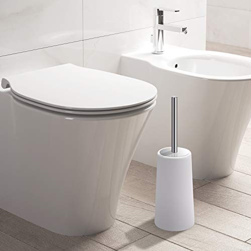 IXO Toilet Brush and Holder, 2 Pack Toilet Brush with 304 Stainless Steel Long Handle, Toilet Bowl Brush for Bathroom Toilet-Ergonomic, Elegant,Durable