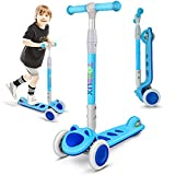 Toddler Scooter, TONBUX 3 Wheel Kick Scooter for Toddlers, Kids Age 3 to 8, Boys and Girls Scooter with Light Up 3-Wheels, Adjustable Height Mini Scooter for Children, Ride on Toys - Blue Cat Design