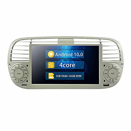 ROADYAKO Android 10.0 Indash GPS para automóvil Navigaton Radio Estéreo para Fiat 500 2007 2008 2009 2010 2011 2012 2013 2014 Oiringla Car Is White Car Multimedia BT WiFi 4G RDS SWC FM Am