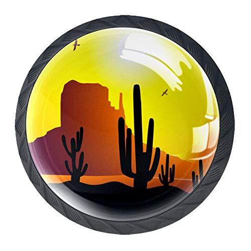 TIKISMILE Zonsondergang Op Monument Vallei Lade Knop Pull Handvat Ergonomische 35mm Kristal Glas Cirkel Meubelkast Handvat voor Keuken Dressoir Kast 4 PCS