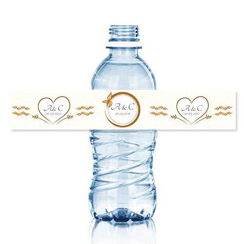15 Etiquetas personalizadas para bodas modelo: standard. Tamaño botellas de agua 33 cl.