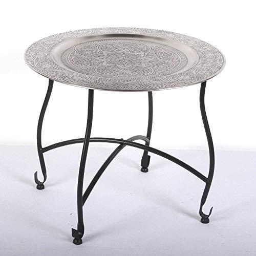 Casa Moro Orientalischer Teetisch Safi D50 cm | Beistelltisch mit Silbertablett & klappbarem Gestell in schwarz | Handmade Gartentisch Camping-Tisch | Kunsthandwerk aus Marrakesch | TA7070