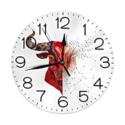 Huanglan Art Bull Red Round Wall Clock Decorative 9.5 Inch Battery Operated Quartz Analog Quiet Desk Clock for Student Home Office School