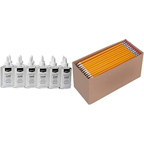 Amazon Basics Washable Liquid School Glue, 5 oz Bottle, Clear, 12-Pack & Woodcased #2 Pencils, Pre-sharpened, HB Lead - Box of 150, Bulk Box