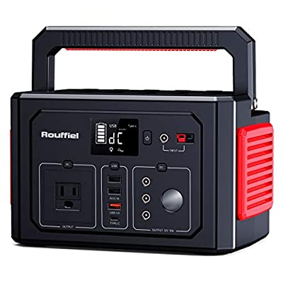 Rouffiel Portable Power Stations 350W, 288WH Solar Generators with 110V/350W AC Outlet, QC3.0&Type C, Car Port, CPAP Backup Lithium Battery Supply for Road Trip Camping, Outdoor Adventure