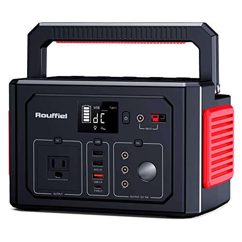 Rouffiel 350W Portable Power Station, 288WH CPAP Backup Lithium Battery 110V Pure Sine Wave AC Outlet, Solar Generator with QC3.0&Type C, Car Port for Road Trip Camping, Outdoor Adventure, Hurricane