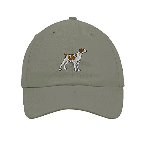 Brittany Spaniel Dogs Pets Embroidery Twill Cotton 6 Panel Low Profile Hat Light Grey