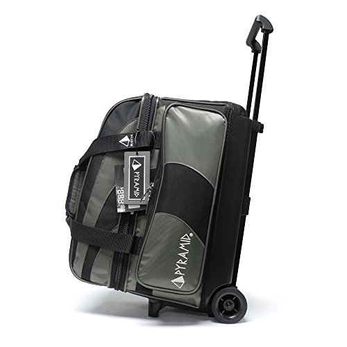 Pyramid Path Deluxe Double Roller with Oversized Accessory Pocket Bowling Bag (Black/Silver)