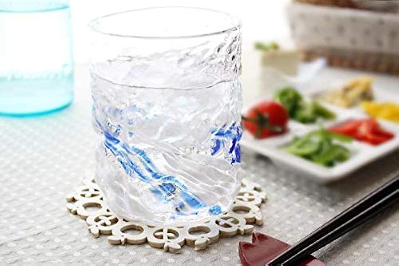 ヒット十二クライアント琉球ガラス グラス 焼酎グラス ビアグラス コップ ロックグラス (残波ロックグラス大/源河) 水色