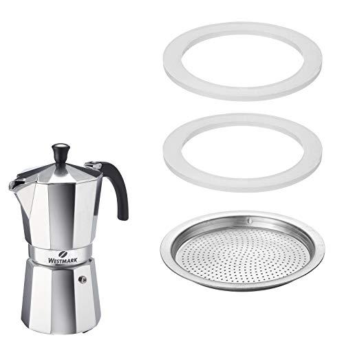 Westmark 2 Ersatz-Silikondichtringe + 1 Ersatz-Filterplättchen für Espressokocher 24642260 (9 Tassen), Brasilia, Silikon/Edelstahl, 2464228E