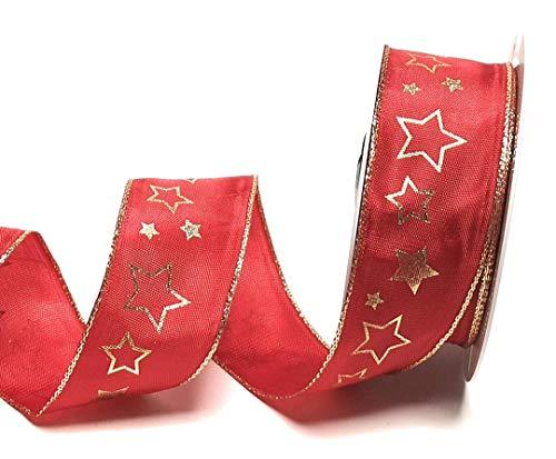 SCHLEIFENBAND 20m x 40mm ROT + goldene Sterne Dekoband Geschenkband Weihnachten [1755]