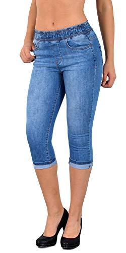 ESRA Damen Capri Jeans Hose Skinny Jeanshose mit Gummibund Caprijeans bis Übergröße J460