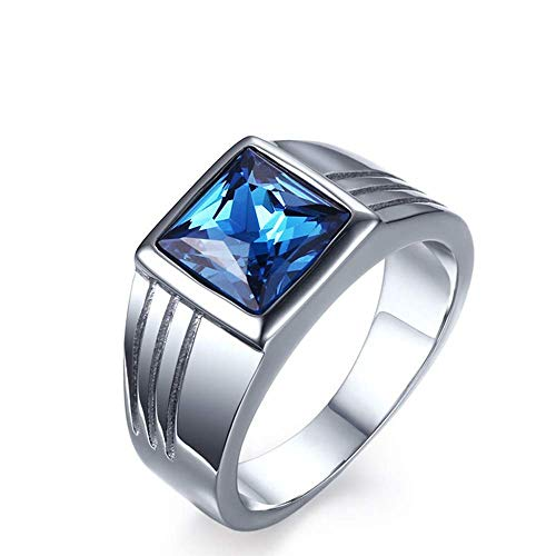 NA Anillos de Diamantes Azules de Acero Inoxidable de joyería para Hombres Europeos y Americanos