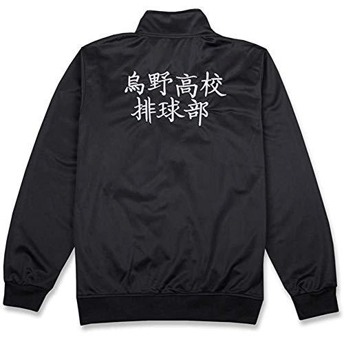 Qian Qian Unisex Haikyuu Cosplay Jacke Hosen Schwarz Sportbekleidung Karasuno High School Volleyball Club Jersey Uniform kostüm (Medium, Jacke)