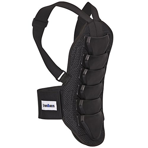 trendbasis Rückenprotektor für Ski und Snowboard - effektiver Schutz der Wirbelsäule - Größe S (Körpergröße 150-160cm) - Protektorplatten: Schwarz