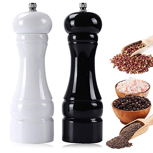 BOCHION Premium Salz und Pfeffer Mühle, Holz PfefferMühle mit Verstellbarem KeramikMahlwerk, Manuelle Groß Gewürzmühle und Kräutermühle, Refillable Salz und Pfeffer Streuer 16.5 cm küchenzubehör.