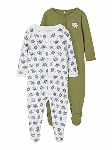 NAME IT Nbmnightsuit 2p W/F Turtle Noos Mamelucos para bebés y niños pequeños, Loden Green, 74 (Pack de 2)