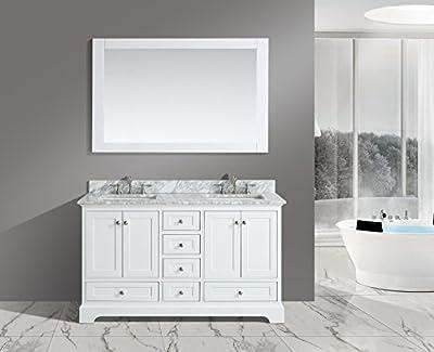 "Urban Furnishing - Jocelyn 60-Inch (60"") Bathroom Sink Vanity Set with White Italian Carrara Marble Top - White"