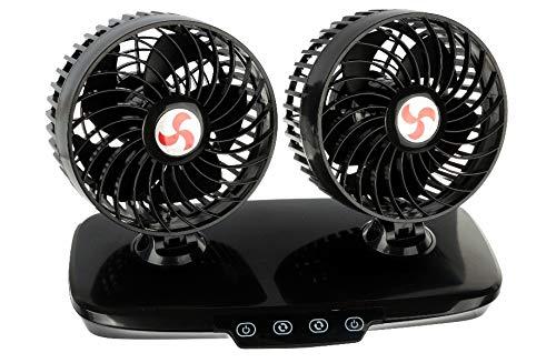Doppelventilator Ventilator Dual LKW 24V 24 Volt mit Touchsensor Luxus 360° verstellbar mit 3-fach Geschwindigkeitsverstellung und Leuchtanzeige
