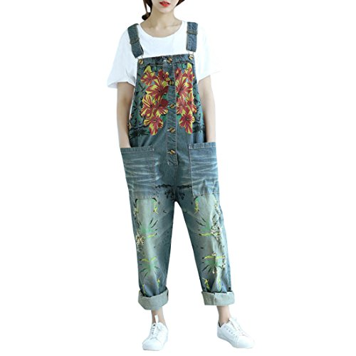 Sidiou Group Damen Casual Printed Baggy Hose Weite Bein Latzhosen Baumwolle Spielanzug Jumpsuit Spielanzug (One Size, Stil 2-Dunkelblau)