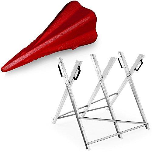 Deuba Spaltkeil und Holzsägebock Set Sägegestell verzinkt Keil aus Karbonstahl