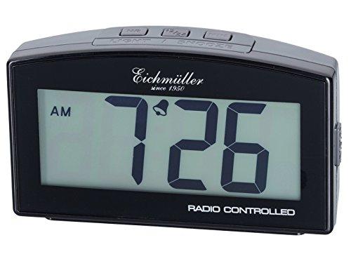 Eichmüller Wecker digitaler Funkwecker in Grau 12/24 h mit Alarm Schlummer und Licht