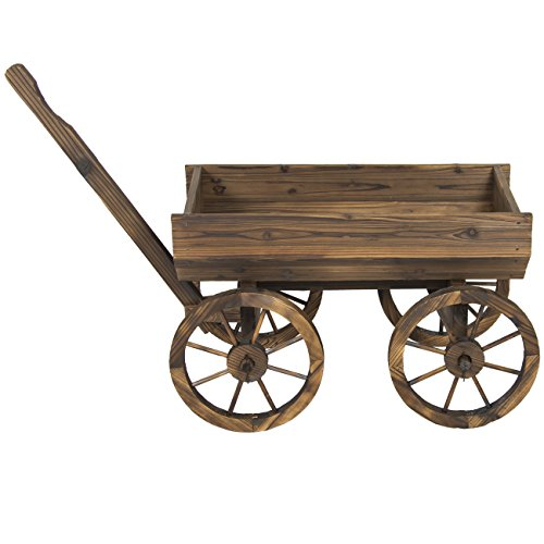 Best Choice Products Wooden Flower Planter Wagon Pot Stand Outdoor Décor w/Rolling Wheels and Handle, Brown
