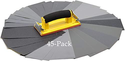 45 Blatt(120-5000 Körnung) Schleifpapier 23cm x 9cm + Handschleifer, Nass und Trocken Sandpapier für Automobil Schleifen, Holzmöbellackierung, Veredelung, Holzverarbeitung