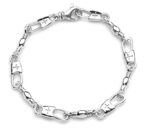 "Denali Designs Large Link Cross or Hook Fisher of Men Bracelet (Cross Snap-9.25"")"