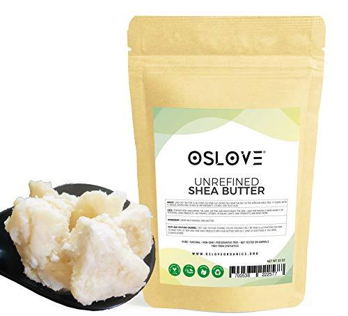 Organic Unrefined Shea Butter 2 LB by Oslove Organics -Raw, African,100% Pure, Non-GMO, Fresh, Rich and Creamy