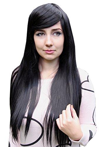 Prettyland Perruque 80cm Longue Noir Blanche-Neige Raide Frange Droite Résistant à Chaleur Fée Pocahontas C874
