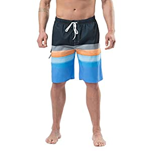 Lncropo Mens Quick Dry Swim Trunks Striped Print Board Shorts with Mesh Lining, Pocket, Elastic Waistband